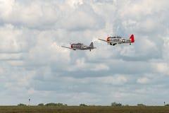 AT-6 Texans voert Vlieg door uit over Baan Stock Afbeeldingen