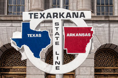 Texarkana State Line Road Sign. Texas and Arkansas StatelineRoad  Sign in Texarkana Royalty Free Stock Photo