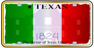 Texas Alamo License Plate illustration stock