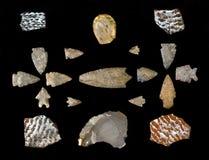 Texas Arrowheads and Pottery Sherds. Royalty Free Stock Photo