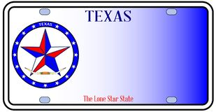 Texas Auto License Plate illustration stock