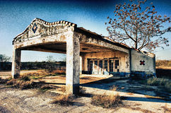 Texas Back Roads Gas Station abandonado Imagenes de archivo