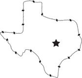 Texas barb wire. This is an outline of Texas made of barb wire and a star for Austin the captial Stock Images