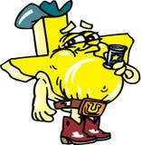 Texas Beer Drinker. Texas shaped cartoon with drinking beer Stock Photo