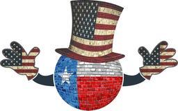 Texas boll med den amerikanska hatten och händer Arkivfoton