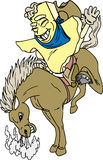 Texas Bronco Rider. Texas shaped cartoon with riding a horse vector illustration