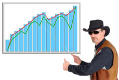 Texas businessman. Texas  businessman pointing to a (fictitious) chart, diagram. Business, communication, economy, corporate concept Stock Images