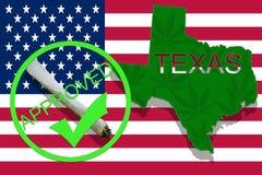 Texas  on cannabis background. Drug policy. Legalization of marijuana on USA flag, Stock Photo