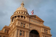 Texas Capitol. At sunset on a cloudy day stock photo