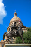 Texas Capitol. Austin Texas Capitol Building and staue under the blue sky royalty free stock photography