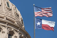 Texas Capitol Dome and Flags Stock Images