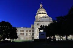 Texas Captial and horseback statue. The Texas Capital building in Austin Texas at dusk Stock Image