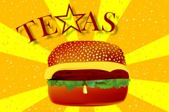 Texas Cheeseburger Over Yellow And Oranje Abstract Ray Background royalty-vrije illustratie
