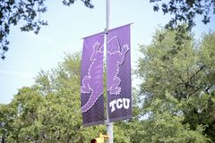 Texas Christian University Banner, Fort Worth, Texas stockbild