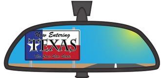 Texas In Chunky Rear View-Spiegel Stockfotos