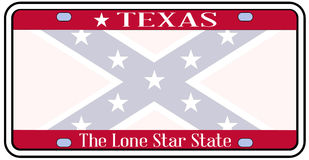 Texas Confederate Flag Plate Photos libres de droits