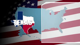 Texas Countered Flag and Information Panel stock video