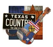 Texas Country Music Art Piece. With license plate horseshoe guitar leather star brand long horn steer stock photos