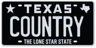 Texas Country Music License Plate stock de ilustración