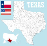 Texas county map. A large and detailed map of the State of Texas with all counties and county seats vector illustration