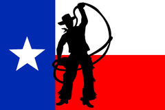 Texas Cowboy. Silhouette of Cowboy waving with rope isolated on Texas Flag royalty free illustration