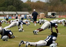 Texas Cowboys Training. The Dallas Cowboys at their 2008 summer training camp in Oxnard, CA during a training session working out Royalty Free Stock Images