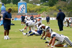 Texas Cowboys Training. The Dallas Cowboys at their 2008 summer training camp in Oxnard, CA during a training session working out Royalty Free Stock Image