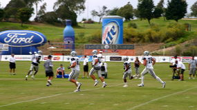 Texas Cowboys Training. The Dallas Cowboys at their 2008 summer training camp in Oxnard, CA during a training session working out Royalty Free Stock Photo