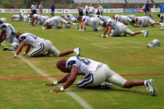 Texas Cowboys Training. The Dallas Cowboys at their 2008 summer training camp in Oxnard, CA during a training session working out Stock Photography