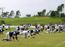 Texas Cowboys Training. The Dallas Cowboys at their 2008 summer training camp in Oxnard, CA during a training session working out Stock Images