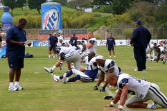 Texas Cowboys Training. The Dallas Cowboys at their 2008 summer training camp in Oxnard, CA during a training session working out Stock Image