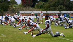 Texas Cowboys Training. The Dallas Cowboys at their 2008 summer training camp in Oxnard, CA during a training session working out Stock Photos