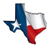 Texas Cut Out Map Inner-Schatten mit Flagge darunterliegend Lizenzfreies Stockbild