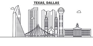 Texas Dallas architecture line skyline illustration. Linear vector cityscape with famous landmarks, city sights, design Royalty Free Stock Photos