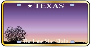 Texas Desert Scene License Plate. Texas state license plate with sky and desert background Stock Photo