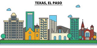 Texas, El Paso.City skyline. Texas, El Paso.City skyline: architecture buildings, streets silhouette, landscape panorama, landmarks. Editable strokes. Flat Stock Photos