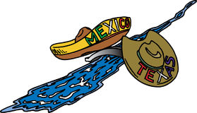 Texas en Mexico vector illustratie