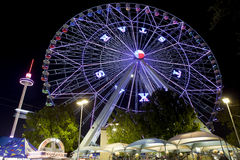 Texas Ferriswheel (night). Ferris wheel at the Texas State Fair in Dallas TX in action. Motion blur - long exposure Stock Photos