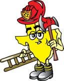 Texas Fireman. Texas shaped cartoon as a Fireman Stock Photo