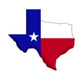 Texas Flag. Shape of the state of Texas. Star and colors of Texas flag incorporated inside map Royalty Free Stock Image