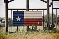 Texas flag art. Texas flag painted on tin hanging on gate entrance royalty free stock image