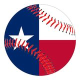 Texas Flag Baseball. A new white baseball with red stitching with the Texas flag overlay isolated on white Stock Photography