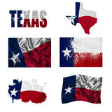 Texas flag collage. Texas flag and map in different styles in different textures Royalty Free Stock Images
