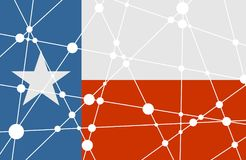 Texas flag concept. Flag of the Texas. Low poly concept triangular style. Molecule and communication background. Connected lines with dots Stock Image