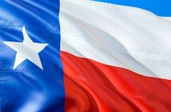 Texas Flag 3D che ondeggia progettazione della bandiera dello stato di U.S.A. Il simbolo nazionale degli Stati Uniti dello stato  immagine stock libera da diritti