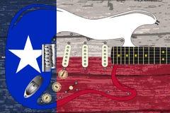 Texas Flag With Electric Guitar vektor illustrationer