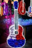 Texas Flag Guitar Lit oben mit Lichtern Lizenzfreie Stockfotografie