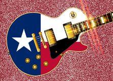 Texas Flag Guitar Over Abstract Dot Background Illustration Stock