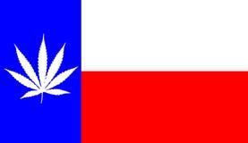 Texas flag with marijuana leaf Royalty Free Stock Photo