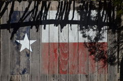 Texas Flag op Cedar Planks Stock Foto
